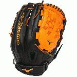 Mizuno GMVP1250PSEF3 Fastpitch Softball Glove 12.5 inch (Black-Orange, Right Hand Throw) : Patent pending Heel Flex Technology increases flexibility and closure. Center pocket design. Strong edge creates a more stable thumb and pinky. Smooth professional style. Oil Plus leather, the perfect balance of oiled softness for exceptional feel and firm control that serious players demand. Durable Steer soft palm liner. Matching outlined embroidered logo. Two tone lace.