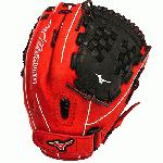 Mizuno GMVP1250PSEF3 Fastpitch Softball Glove 12.5 inch (Red-Black, Right Hand Throw) : Patent pending Heel Flex Technology increases flexibility and closure. Center pocket design. Strong edge creates a more stable thumb and pinky. Smooth professional style. Oil Plus leather, the perfect balance of oiled softness for exceptional feel and firm control that serious players demand. Durable Steer soft palm liner. Matching outlined embroidered logo. Two tone lace.