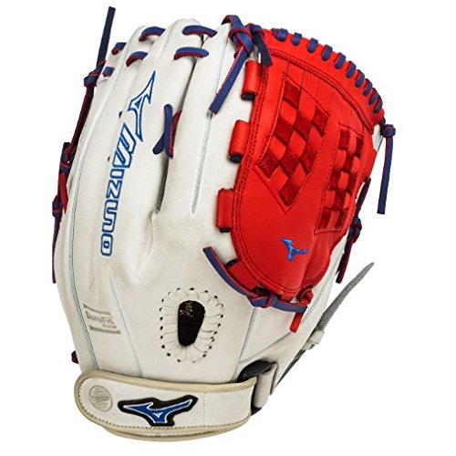 Mizuno GMVP1250PSEF3 Fastpitch Softball Glove 12.5 inch (Silver-Red-Royal, Right Hand Throw) : Patent pending Heel Flex Technology increases flexibility and closure. Center pocket design. Strong edge creates a more stable thumb and pinky. Smooth professional style. Oil Plus leather, the perfect balance of oiled softness for exceptional feel and firm control that serious players demand. Durable Steer soft palm liner. Matching outlined embroidered logo. Two tone lace.
