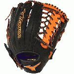 Mizuno GMVP1277PSE3 MVP Prime Baseball Glove 12.75 inch (Black-Orange, Right Hand Throw) : Patent pending Heel Flex Technology increases flexibility and closure. Center pocket design. Strong edge creates a more stable thumb and pinky. Smooth professional style. Oil Plus leather, the perfect balance of oiled softness for exceptional feel and firm control that serious players demand. Durable Steer soft palm liner. Matching outlined embroidered logo. Two tone lace.