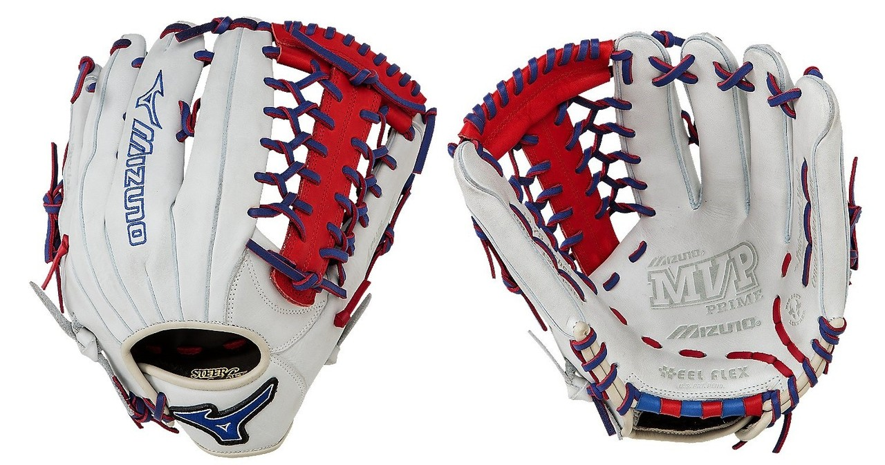 mizuno-gmvp1277pse3-prime-se-baseball-glove-silver-red-royal-right-hand-throw GMVP1277PSE3-Silver-Red-RoyalRghtHndThw Mizuno  Patent pending Heel Flex Technology increases flexibility and closure. Center pocket