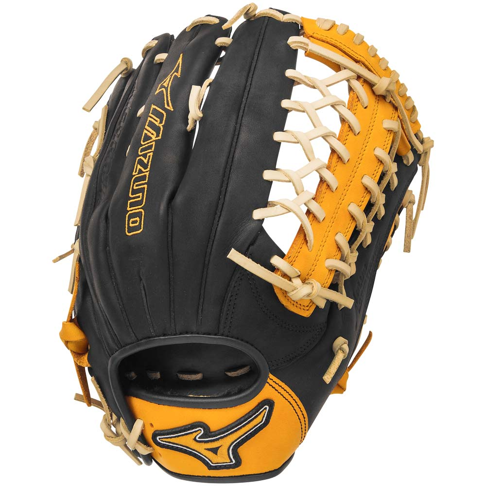 mizuno-gmvp1277se4-mvp-prime-se-baseball-glove-black-gold-right-hand-throw GMVP1277PSE4-BLACK-GOLD-RightHandThrow Mizuno 041969557655 12.75 Inch Pattern Bio Soft Leather - Pro-Style Smooth Leather That