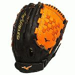 Mizuno GMVP1300PSEF3 Fastpitch Softball Glove 13 inch (Black-Orange, Right Hand Throw) : Patent pending Heel Flex Technology increases flexibility and closure. Center pocket design. Strong edge creates a more stable thumb and pinky. Smooth professional style. Oil Plus leather, the perfect balance of oiled softness for exceptional feel and firm control that serious players demand. Durable Steer soft palm liner. Matching outlined embroidered logo. Two tone lace.