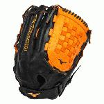 Mizuno GMVP1400PSES3 Slowpitch Softball Glove 14 inch (Black-Orange, Right Hand Throw) : Patent pending Heel Flex Technology increases flexibility and closure. Center pocket design. Strong edge creates a more stable thumb and pinky. Smooth professional style. Oil Plus leather, the perfect balance of oiled softness for exceptional feel and firm control that serious players demand. Durable Steer soft palm liner. Matching outlined embroidered logo. Two tone lace.