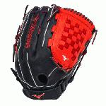 Mizuno GMVP1400PSES3 Slowpitch Softball Glove 14 inch (Navy-Red, Right Hand Throw) : Patent pending Heel Flex Technology increases flexibility and closure. Center pocket design. Strong edge creates a more stable thumb and pinky. Smooth professional style. Oil Plus leather, the perfect balance of oiled softness for exceptional feel and firm control that serious players demand. Durable Steer soft palm liner. Matching outlined embroidered logo. Two tone lace.