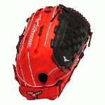 Mizuno GMVP1400PSES3 Slowpitch Softball Glove 14 inch (Red-Black, Right Hand Throw) : Patent pending Heel Flex Technology increases flexibility and closure. Center pocket design. Strong edge creates a more stable thumb and pinky. Smooth professional style. Oil Plus leather, the perfect balance of oiled softness for exceptional feel and firm control that serious players demand. Durable Steer soft palm liner. Matching outlined embroidered logo. Two tone lace.