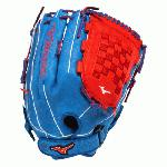 Mizuno GMVP1400PSES3 Slowpitch Softball Glove 14 inch (Royal-Red, Right Hand Throw) : Patent pending Heel Flex Technology increases flexibility and closure. Center pocket design. Strong edge creates a more stable thumb and pinky. Smooth professional style. Oil Plus leather, the perfect balance of oiled softness for exceptional feel and firm control that serious players demand. Durable Steer soft palm liner. Matching outlined embroidered logo. Two tone lace.