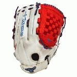 Mizuno GMVP1400PSES3 Slowpitch Softball Glove 14 inch (Silver-Red-Royal, Right Hand Throw) : Patent pending Heel Flex Technology increases flexibility and closure. Center pocket design. Strong edge creates a more stable thumb and pinky. Smooth professional style. Oil Plus leather, the perfect balance of oiled softness for exceptional feel and firm control that serious players demand. Durable Steer soft palm liner. Matching outlined embroidered logo. Two tone lace.