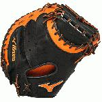 Mizuno GXC50PSE3 Catchers Mitt 34 inch MVP Prime (Black-Orange, Right Hand Throw) : Patent pending Heel Flex Technology increases flexibility and closure. Center pocket design. Strong edge creates a more stable thumb and pinky. Smooth professional style. Oil Plus leather, the perfect balance of oiled softness for exceptional feel and firm control that serious players demand. Durable Steer soft palm liner. Matching outlined embroidered logo. Two tone lace