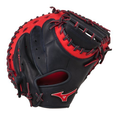 Mizuno GXC50PSE3 Catchers Mitt 34 inch MVP Prime (Navy-Red, Right Hand Throw) : Patent pending Heel Flex Technology increases flexibility and closure. Center pocket design. Strong edge creates a more stable thumb and pinky. Smooth professional style. Oil Plus leather, the perfect balance of oiled softness for exceptional feel and firm control that serious players demand. Durable Steer soft palm liner. Matching outlined embroidered logo. Two tone lace