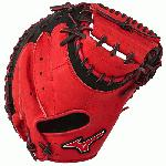 Mizuno GXC50PSE3 Catchers Mitt 34 inch MVP Prime (Red-Black, Right Hand Throw) : Patent pending Heel Flex Technology increases flexibility and closure. Center pocket design. Strong edge creates a more stable thumb and pinky. Smooth professional style. Oil Plus leather, the perfect balance of oiled softness for exceptional feel and firm control that serious players demand. Durable Steer soft palm liner. Matching outlined embroidered logo. Two tone lace
