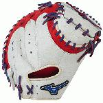 Mizuno GXC50PSE3 Catchers Mitt 34 inch MVP Prime (Silver-Red-Royal, Right Hand Throw) : Patent pending Heel Flex Technology increases flexibility and closure. Center pocket design. Strong edge creates a more stable thumb and pinky. Smooth professional style. Oil Plus leather, the perfect balance of oiled softness for exceptional feel and firm control that serious players demand. Durable Steer soft palm liner. Matching outlined embroidered logo. Two tone lace