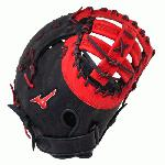 Mizuno GXF50PSE3 MVP Prime First Base Mitt 13 inch (Navy-Red, Right Hand Throw) : Patent pending Heel Flex Technology increases flexibility and closure. Center pocket design. Strong edge creates a more stable thumb and pinky. Smooth professional style. Oil Plus leather, the perfect balance of oiled softness for exceptional feel and firm control that serious players demand. Durable Steer soft palm liner. Matching outlined embroidered logo. Two tone lace.