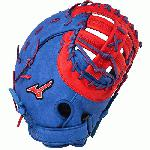 Mizuno GXF50PSE3 MVP Prime First Base Mitt 13 inch (Royal-Red, Right Hand Throw) : Patent pending Heel Flex Technology increases flexibility and closure. Center pocket design. Strong edge creates a more stable thumb and pinky. Smooth professional style. Oil Plus leather, the perfect balance of oiled softness for exceptional feel and firm control that serious players demand. Durable Steer soft palm liner. Matching outlined embroidered logo. Two tone lace.
