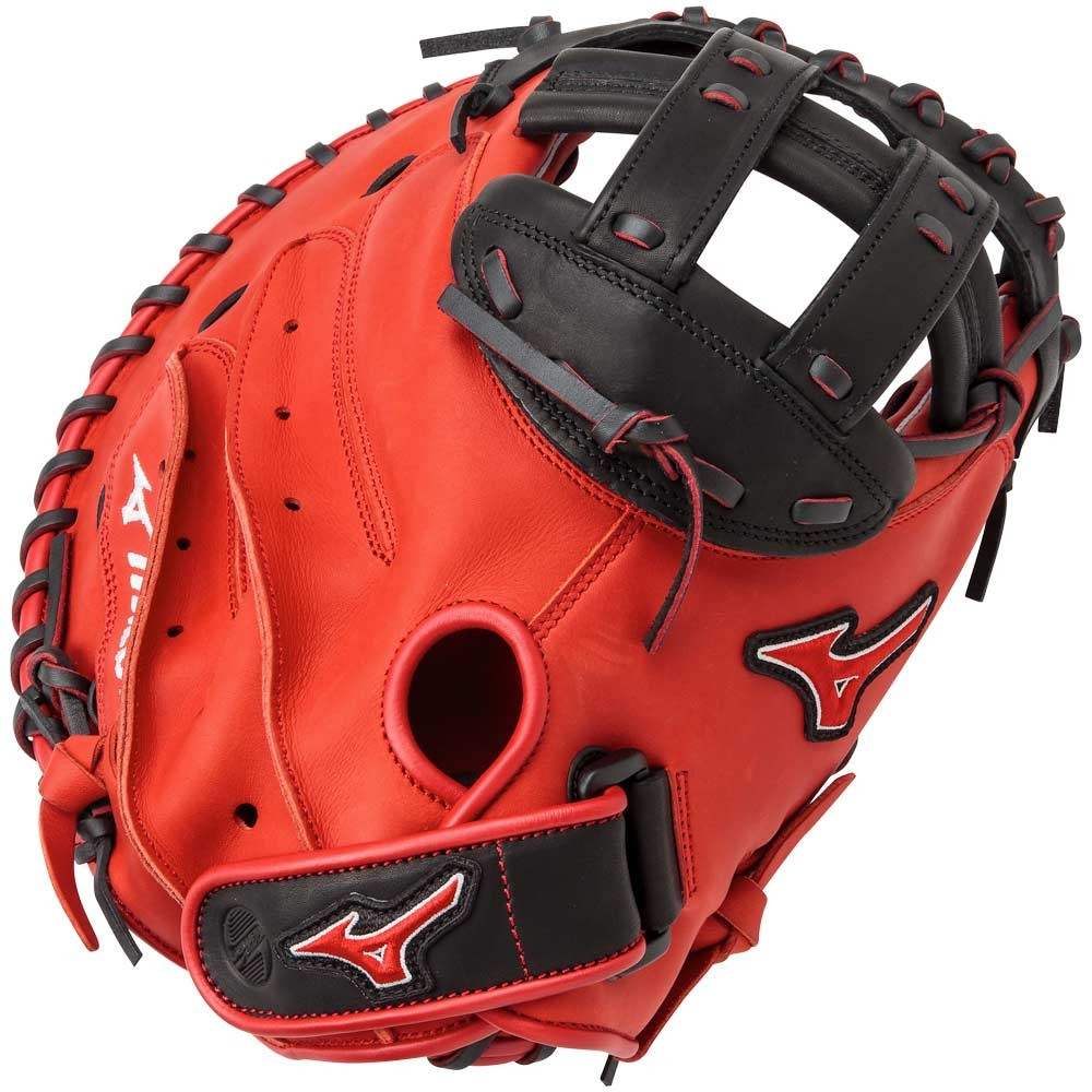 mizuno-gxs50pse4-mvp-prime-se-catchers-mitts-red-black-right-hand-throw GXS50PSE4-RED-BLACK-RightHandThrow Mizuno B018330FNW Bio soft leather professional style smooth leather that has the perfect