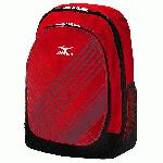 Mizuno Lightning Day Pack (Red) : The Lightning Daypack features Mizuno's Aerostrap technology, which consists of thick, padded straps with mesh backing for ultimate comfort when carrying large loads. The handy front compartment features a valuables pocket and hook for keys, while the padded sleeve for laptops provides secure storage for your computer.
