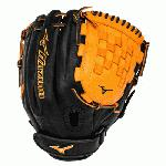 Mizuno MVP Prime Fast Pitch GMVP1200PSEF3 12 inch Softball Glove (Black-Orange, Right Hand Throw) : Patent-pending Heel Flex Technology increases flexibility and closure. Center Pocket design. Strong edge creates a more stable thumb and pinky. Smooth professional style Oil Plus leather- Perfect balance of oiled softness for exceptional feel and firm control that serious players demand Durable SteerSoft palm liner. Matching outlined embroidered logo.PowerLock closure for maximum performance.Vertically laced heel specific for fast pitch12.00 inch InfieldPitcher Tartan Web