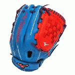 Mizuno MVP Prime Fast Pitch GMVP1200PSEF3 12 inch Softball Glove (Royal-Red, Right Hand Throw) : Patent-pending Heel Flex Technology increases flexibility and closure. Center Pocket design. Strong edge creates a more stable thumb and pinky. Smooth professional style Oil Plus leather- Perfect balance of oiled softness for exceptional feel and firm control that serious players demand Durable SteerSoft palm liner. Matching outlined embroidered logo.PowerLock closure for maximum performance.Vertically laced heel specific for fast pitch12.00 inch InfieldPitcher Tartan Web