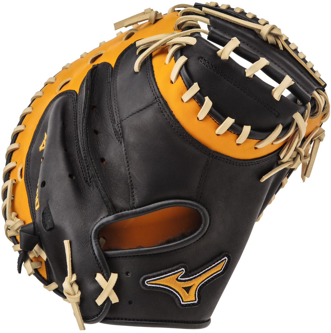 mizuno-mvp-prime-se-catchers-mitt-black-gold-right-hand-throw GXC50PSE4-BLACK-GOLD-RightHandThrow Mizuno 041969557839 34.00 Inch Pattern Bio Soft Leather - Pro-Style Smooth Leather That