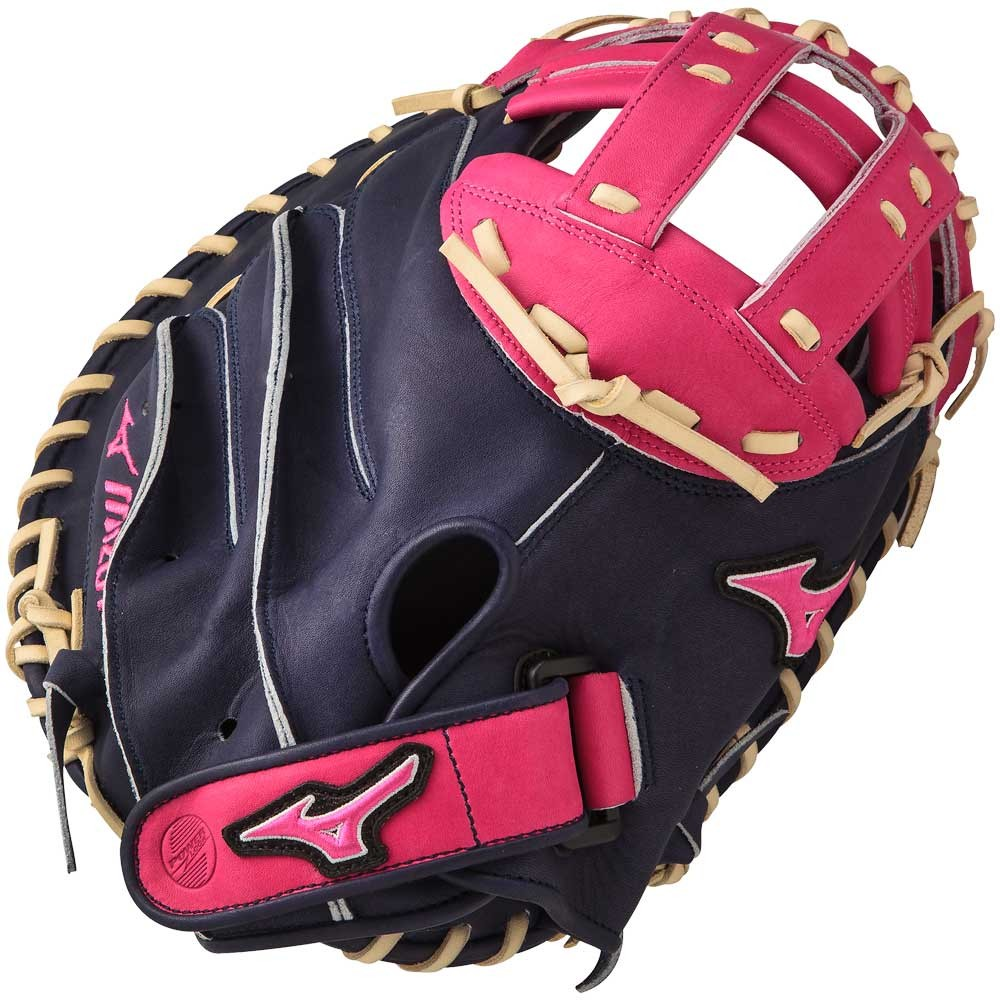 mizuno-mvp-prime-se-catchers-mitts-navy-pink-right-hand-throw GXS50PSE4-NAVY-PINK-RightHandThrow Mizuno 041969558690 Bio soft leather professional style smooth leather that has the perfect
