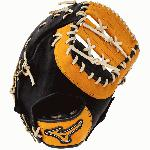12.50 Inch Pattern Bio Soft Leather - Pro-Style Smooth Leather That Balances Oil and Softness with Firm Control Center Pocket Design - Naturally Centers the Pocket Under the Index Finger for the Perfect Break-In Colorway Black Gold Conventional Open Back Ideal for Baseball or Softball First Basemen Inlet Toe Design - Easier-To-Shape Toe Makes Picking Errant Throws Easier Professional Level Lace - Same High-Quality Laces Offered in Mizuno Pro Gloves Single Heel Break First Base Mitt Pattern Three-Piece Web Ultra Soft Palm Liner - Soft Finish for Excellent Feel