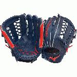 Mizuno GMVP Prime Baseball Glove. Center Pocket design, Strong Edge creates a more stable thumb and pinky. Smooth professional style Oil Plus leather - perfect balance of oiled softness for exceptional feel and firm control that serious players demand. Durable SteerSoft Palm Liner, Matching outlined embroidered logo. Plus grip thumb for exceptional comfort. 12.75 inch Outfield Pattern. Color Navy Red. Shock 2 Web. One Year Manufacturer's Warranty.