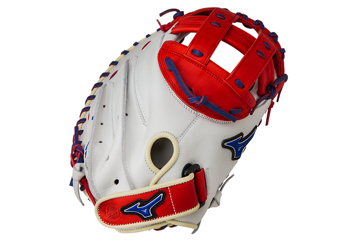 mizuno-mvp-prime-se-gxs50pse4-fastpitch-catchers-mitt-silver-red-right-hand-throw GXS50PSE4-Silver-Red-Right Hand Throw   BioSoft Leather Professional style smooth leather that has the perfect balance