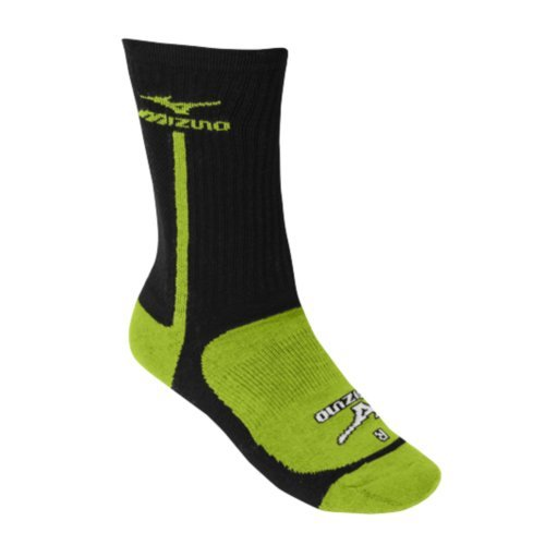 Mizuno Performance Highlighter Crew Sock (BlackLemon, Medium) : The Mizuno performance highlighter socks from Mizuno are designed to compliment the latest footwear line. Comfortable, lightweight and right and left specific design make the highlighter socks a must-have. 55% Polyester30% Cotton13% Nylon2% Spandex Mizuno Runbird logo on lateral side of ankle and on top of foot Right and left specific design Padded heel and forefoot Cooling mesh along Achilles heel Unique design developed to interact with the Lightning RX2 volleyball shoes