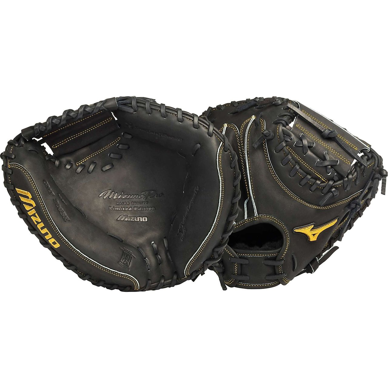 mizuno-pro-gmp200bk-black-limited-edition-catchers-mitt-33-5-right-handed-throw GMP200BK-Right Handed Throw Mizuno 041969460429 Mizuno Catchers mitt. Off-season conditioning program - have Mizuno get your