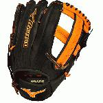 Mizuno Slowpitch GMVP1250PSES3 Softball Glove 12.5 inch (Black-Orange, Right Hand Throw) : Patent pending Heel Flex Technology increases flexibility and closure. Center pocket design. Strong edge creates a more stable thumb and pinky. Smooth professional style. Oil Plus leather, the perfect balance of oiled softness for exceptional feel and firm control that serious players demand. Durable Steer soft palm liner. Matching outlined embroidered logo. Two tone lace.