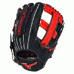 Mizuno Slowpitch GMVP1250PSES3 Softball Glove 12.5 inch (Navy-Red, Right Hand Throw) : Patent pending Heel Flex Technology increases flexibility and closure. Center pocket design. Strong edge creates a more stable thumb and pinky. Smooth professional style. Oil Plus leather, the perfect balance of oiled softness for exceptional feel and firm control that serious players demand. Durable Steer soft palm liner. Matching outlined embroidered logo. Two tone lace.