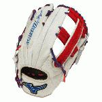 Mizuno Slowpitch GMVP1250PSES3 Softball Glove 12.5 inch (Silver-Red-Royal, Right Hand Throw) : Patent pending Heel Flex Technology increases flexibility and closure. Center pocket design. Strong edge creates a more stable thumb and pinky. Smooth professional style. Oil Plus leather, the perfect balance of oiled softness for exceptional feel and firm control that serious players demand. Durable Steer soft palm liner. Matching outlined embroidered logo. Two tone lace.