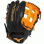 Mizuno Slowpitch GMVP1300PSES3 Softball Glove 13 inch (Black-Orange, Right Hand Throw) : Patent pending Heel Flex Technology increases flexibility and closure. Center pocket design. Strong edge creates a more stable thumb and pinky. Smooth professional style. Oil Plus leather, the perfect balance of oiled softness for exceptional feel and firm control that serious players demand. Durable Steer soft palm liner. Matching outlined embroidered logo. Two tone lace