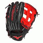 Mizuno Slowpitch GMVP1300PSES3 Softball Glove 13 inch (Navy-Red, Right Hand Throw) : Patent pending Heel Flex Technology increases flexibility and closure. Center pocket design. Strong edge creates a more stable thumb and pinky. Smooth professional style. Oil Plus leather, the perfect balance of oiled softness for exceptional feel and firm control that serious players demand. Durable Steer soft palm liner. Matching outlined embroidered logo. Two tone lace