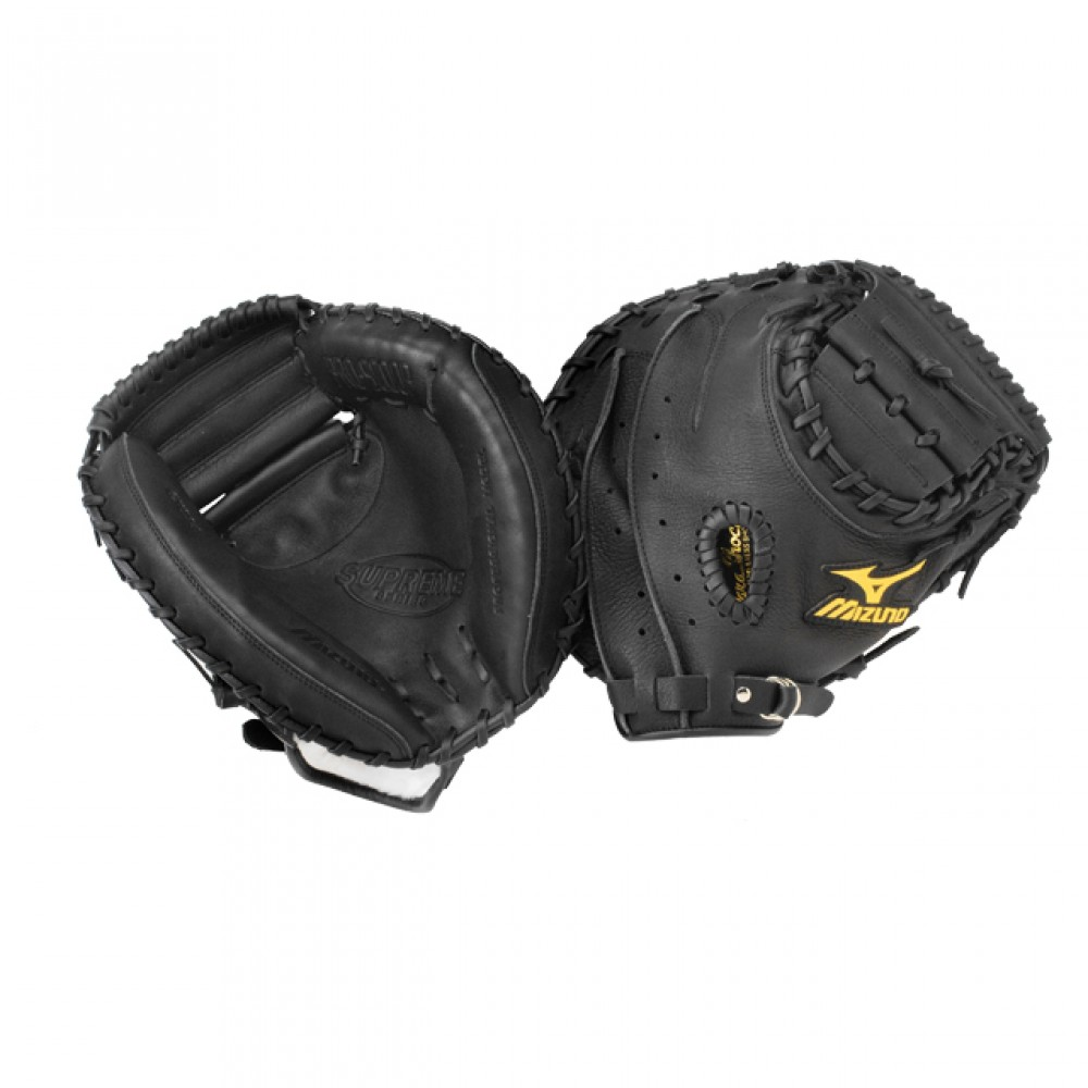 mizuno-supreme-gxc94-youth-catchers-mitt-black-33-5-right-handed-throw GXC94-Right Handed Throw Mizuno 041969998809 Mizunos catchers mitts are made from top quality leather and utilize