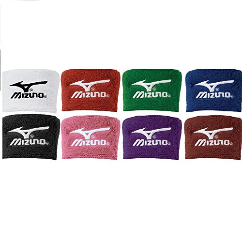 Mizuno Wristbands 370107 2 Inch Wristbands (Pink) : 80% Cotton  10% Nylon  10% Elastic Soft, thick terry construction absorbs perspiration and keeps bands dry with comfort Washable and durable with Runbird embroidered logo 2 inch length 3 inch width Sold by the pair 370107