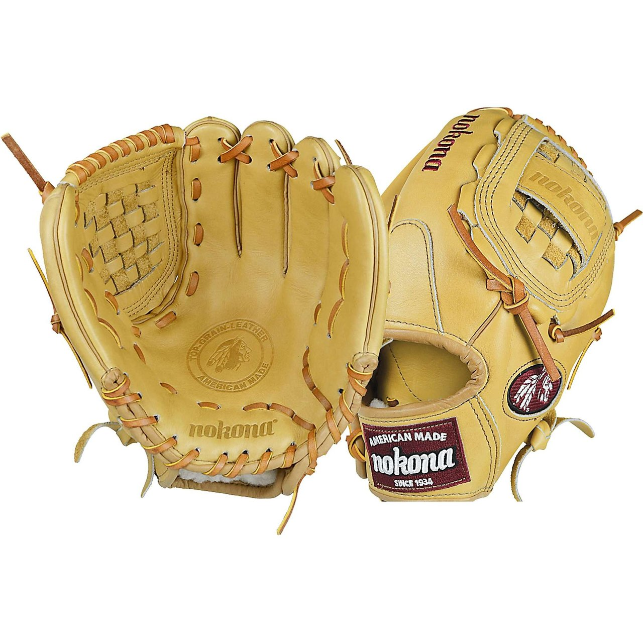 Nokona 12 inch American Legend Baseball Glove (Right Handed Throw) : A full Nokona Sandstone glove. The American Legend is a stiff, sturdy, durable glove which is a traditional Nokona. This glove is for the player looking for structure and durability, and allows for more custom break-in. Form it to your preference. The American Legend will maintain its shape over a long period of time, and provides exceptional durability. The glove has a modified trap web and open conventional back. Ideal for pitching or just playing catch.