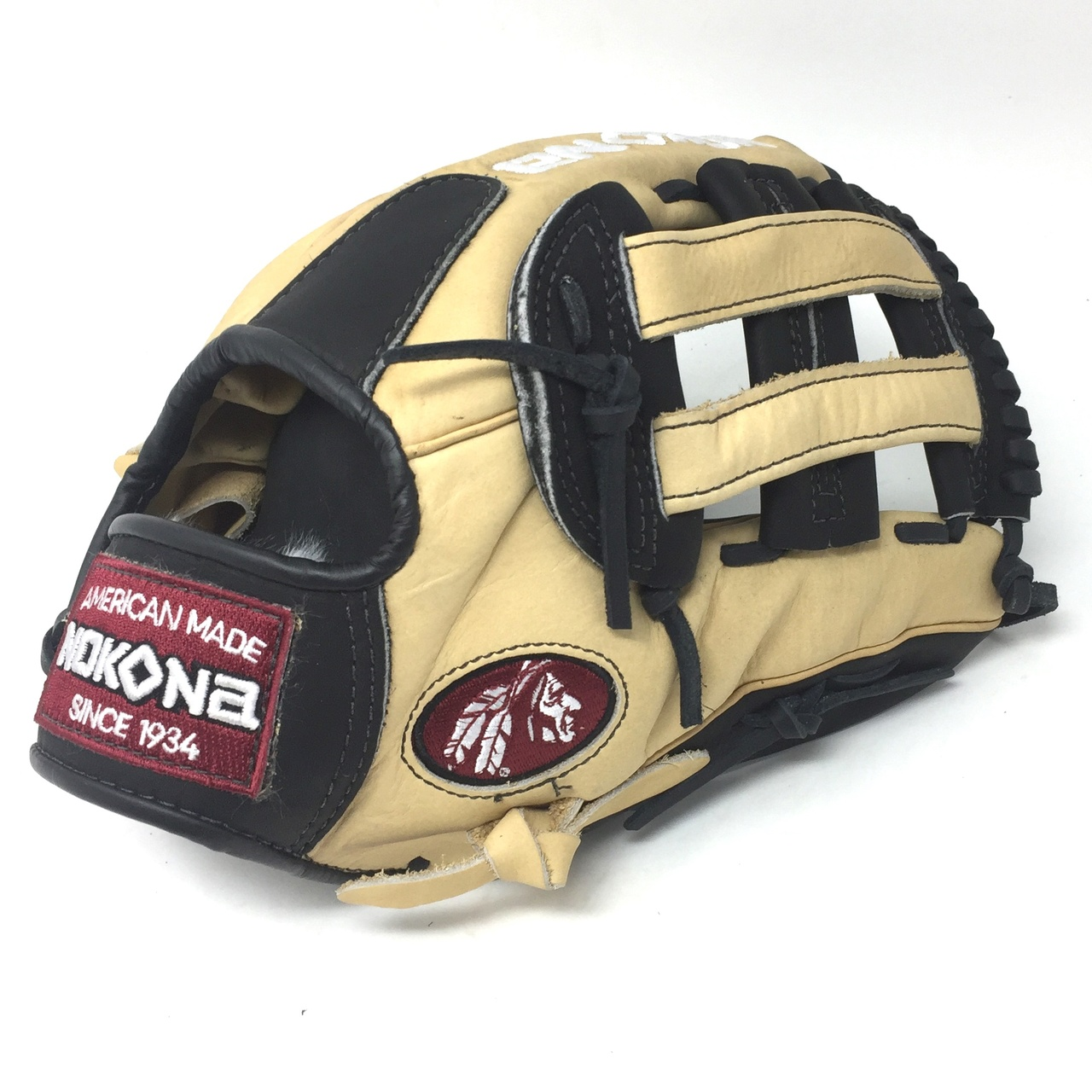 nokona-12-inch-bison-black-alpha-baseball-glove-s-1200hb-right-hand-throw S-1200HB-RightHandThrow  808808893301 Young Adult Glove made of American Bison and Supersoft Steerhide leather