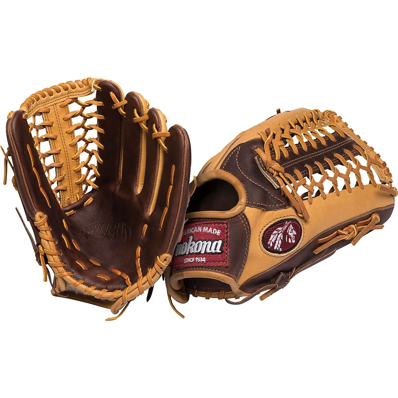 Nokona Alpha Series 12.75 inch Outfield Baseball Glove with Trap Web. 12.75 inch outfield pattern. Modified Trap Web With Open Back. Alpha Leather Scheme with Buffalo and Stampede Leather. Nolera Padding System. Genuine Shearling Cuff. Weight 645g. Handmade in the USA. One year warranty. AB1275M. Since 1934, Nokona has been producing ball gloves for America's pastime right here in the United States. Made with top-grain American hides provided by American ranchers, their leathers are tanned in the USA to Nokona's specifications. Nokona gloves are still produced in the very same small town in Texas, where Nokona started in the 1920s. They are made by Americans who carefully cut, stamp, stitch, lace, and embroider each glove by hand. Each Nokona has its own unique identity and feel, based on the careful selection of leather per part and its hand-crafted construction. Nokona puts classic American workmanship into every glove, using special techniques developed over the past 80 years. This ensures that the highest American and Nokona standards are met so that you can wear your glove with great confidence and pride.