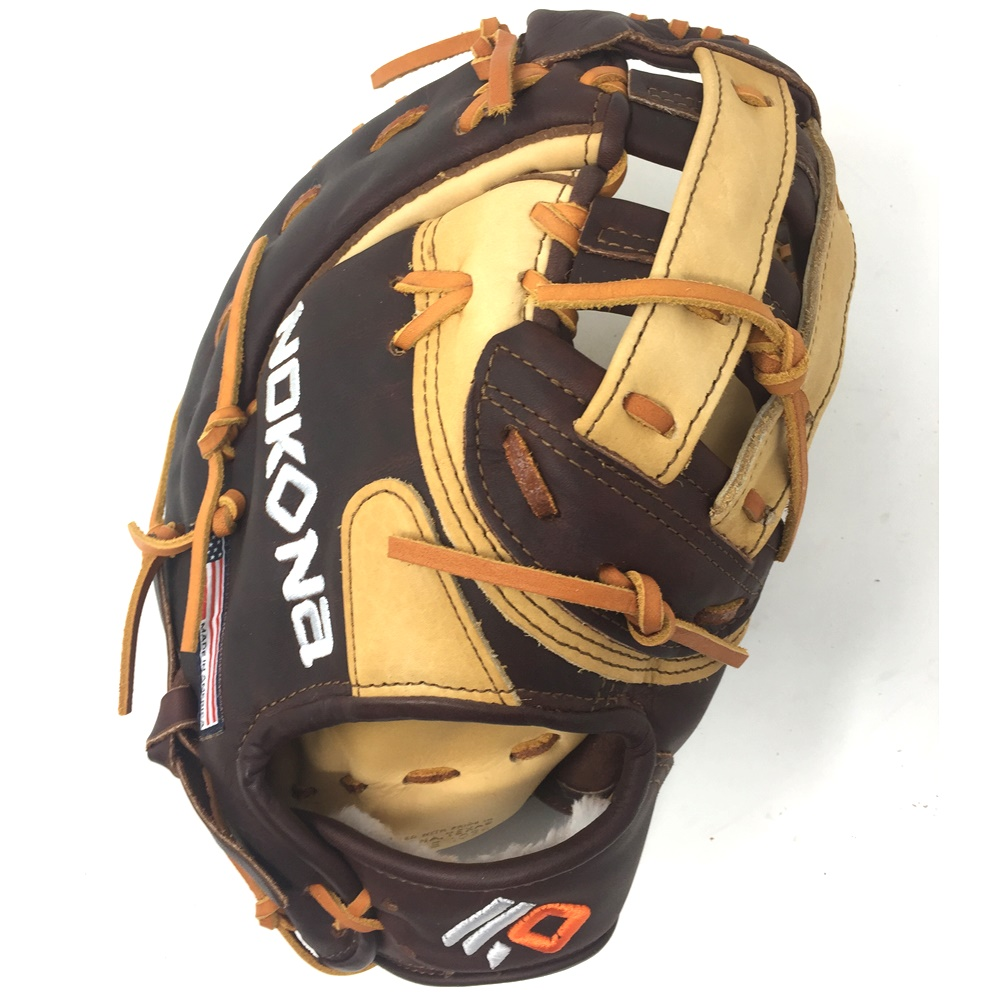 nokona-alpha-american-buffalo-s-3h-first-base-mitt-12-5-right-hand-throw S-3H-RightHandThrow Nokona 808808892700 Stampede and Buffalo for ideal structure weight and very easy break-in.