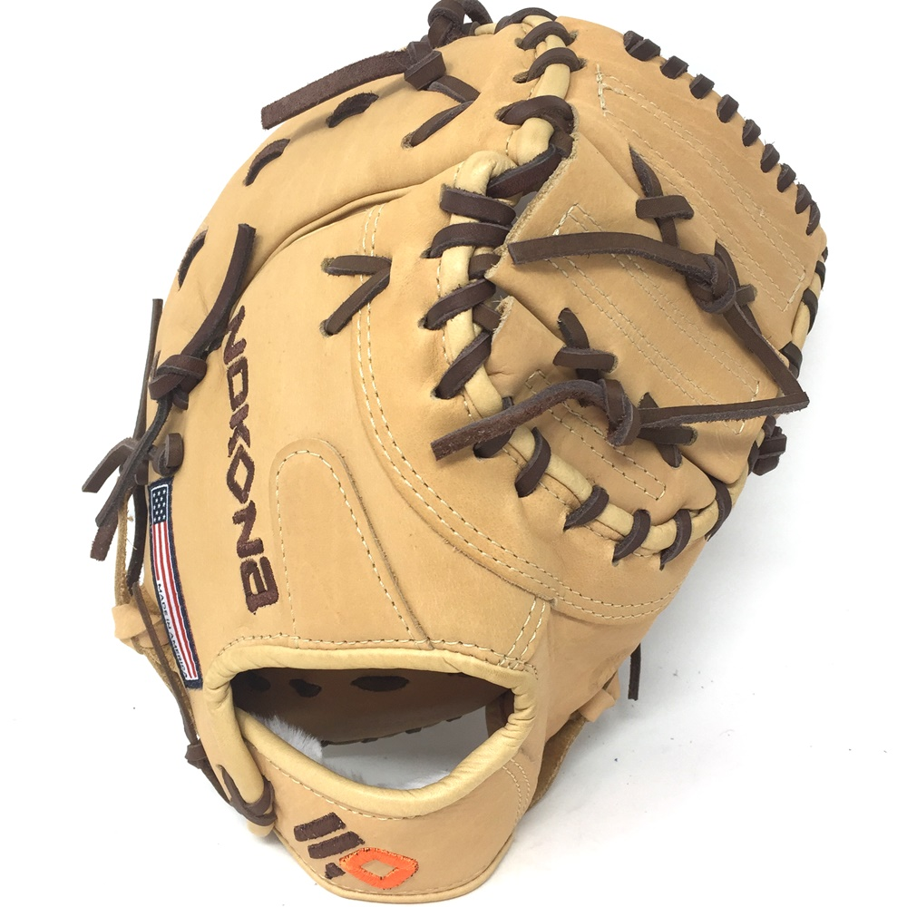 nokona-alpha-baseball-first-base-mitt-14u-tan-10-5-rigth-hand-throw S-130C-Tan-RightHandThrow  808808860297 Nokona youth first base mitts are assembled like a work of
