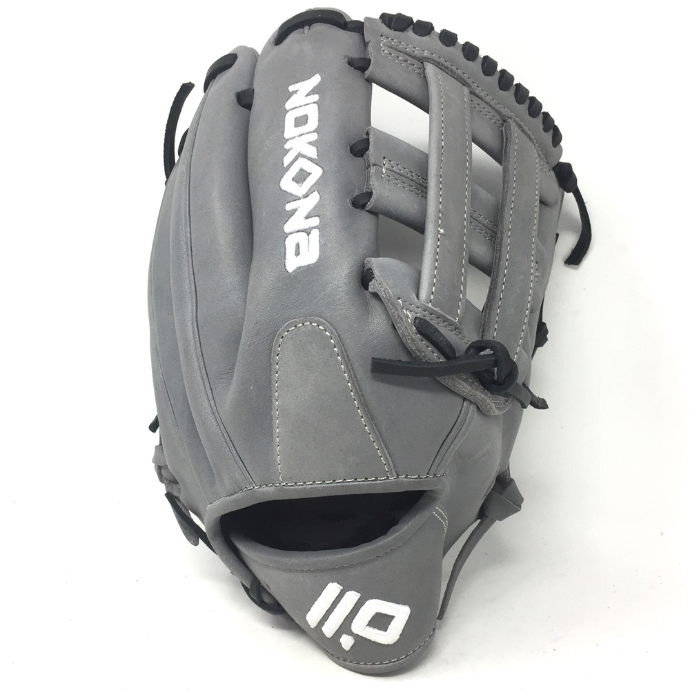nokona-american-kip-gray-with-black-laces-12-baseball-glove-h-web-right-hand-throw A-1200H-GR-BK-RightHandThrow Nokona Does Not Apply The American Kip series made with the finest American steer hide