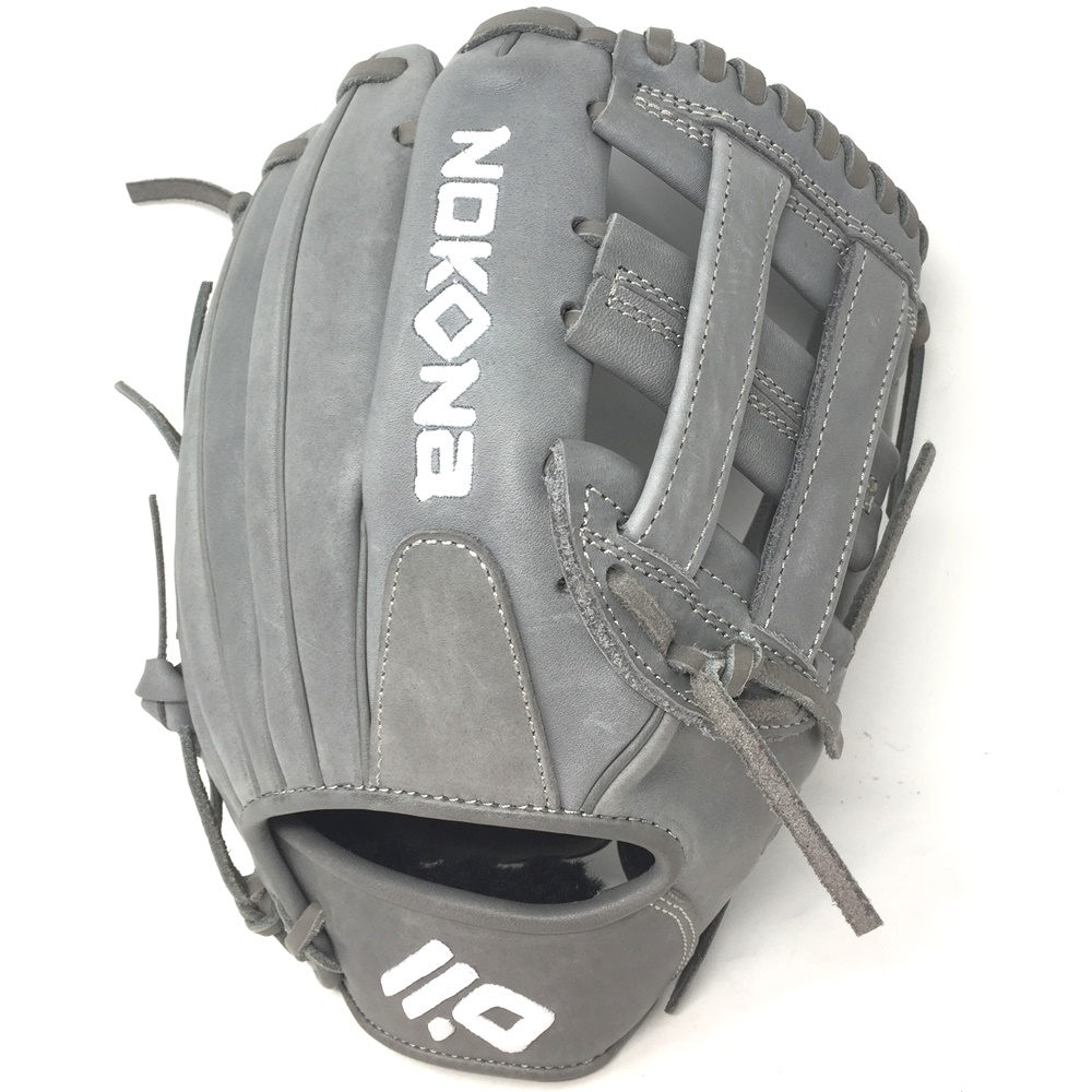 nokona-american-kip-gray-with-grey-laces-11-5-baseball-glove-closed-h-web-right-hand-throw A-1150H-GR-GR-RightHandThrow  Does Not Apply The American Kip series made with the finest American steer hide