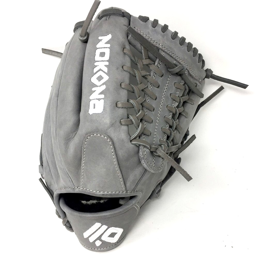 nokona-american-kip-gray-with-grey-laces-11-5-baseball-glove-mod-trap-web-right-hand-throw A-1150M-GR-GY-RightHandThrow  Does Not Apply The American Kip series made with the finest American steer hide