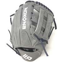 nokona american kip gray with navy laces 11 5 baseball glove closed h web right hand throw