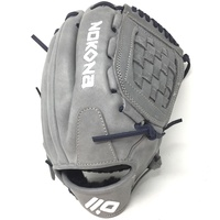 nokona american kip gray with navy laces 12 baseball glove closed trap web right hand throw