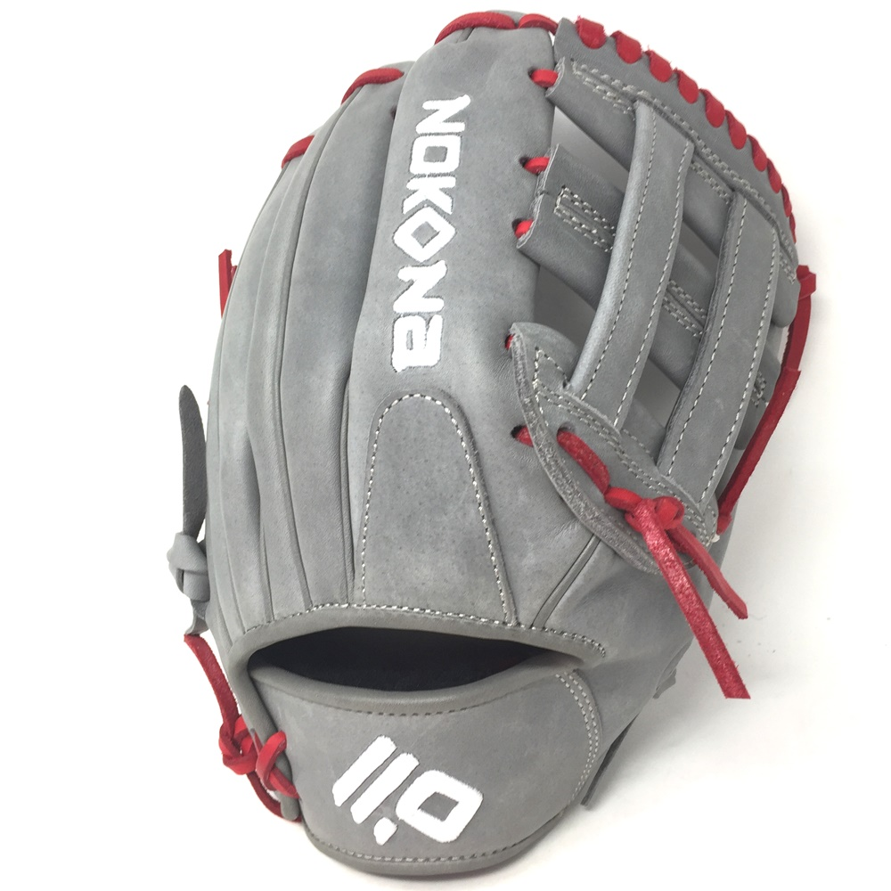 nokona-american-kip-gray-with-red-laces-11-5-baseball-glove-closed-h-web-right-hand-throw A-1150H-GR-RD-RightHandThrow Nokona Does Not Apply The American Kip series made with the finest American steer hide