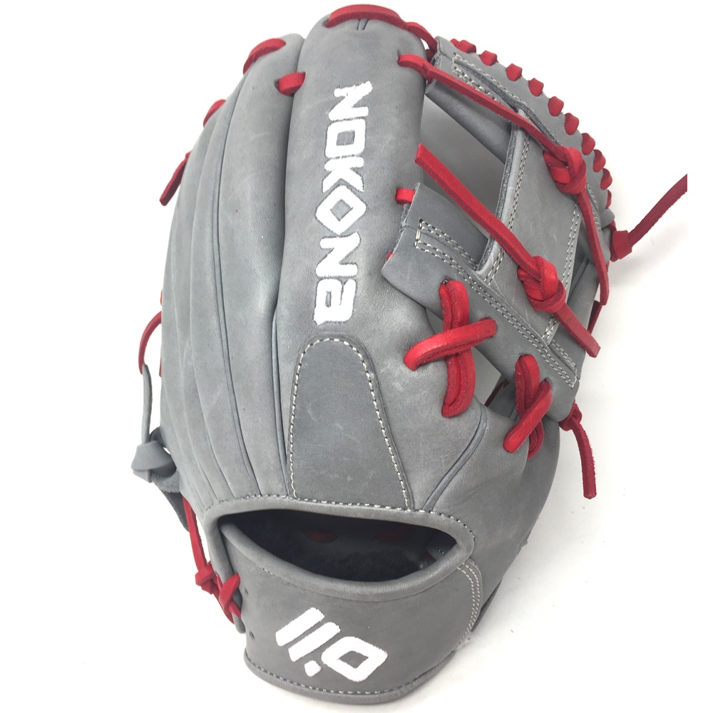 nokona-american-kip-gray-with-red-laces-11-5-baseball-glove-i-web-right-hand-throw A-1150I-GR-RED-RightHandThrow Nokona Does Not Apply The American Kip series made with the finest American steer hide