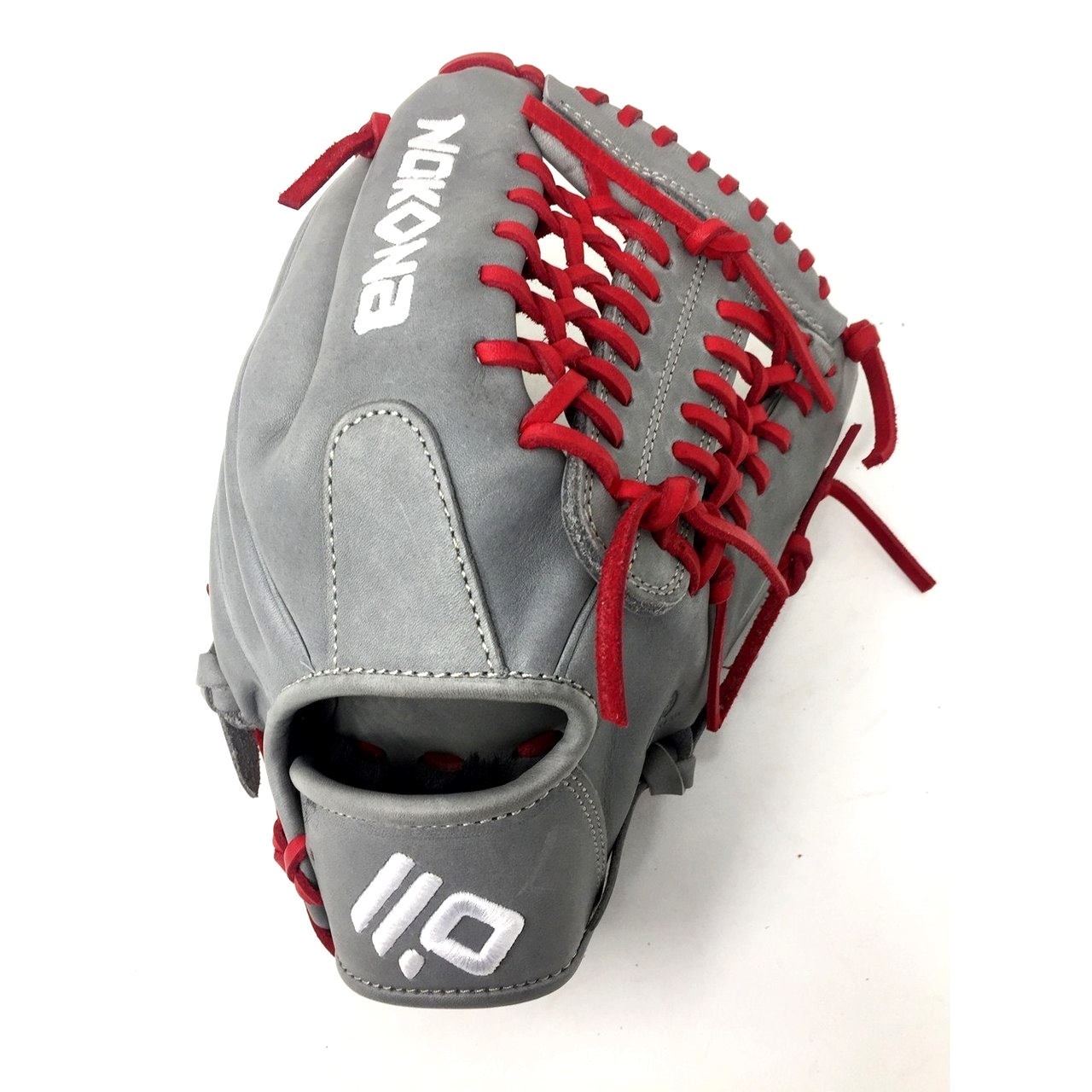 nokona-american-kip-gray-with-red-laces-11-5-baseball-glove-mod-trap-web-right-hand-throw A-1150M-GR-RD-RightHandThrow Nokona Does Not Apply The American Kip series made with the finest American steer hide