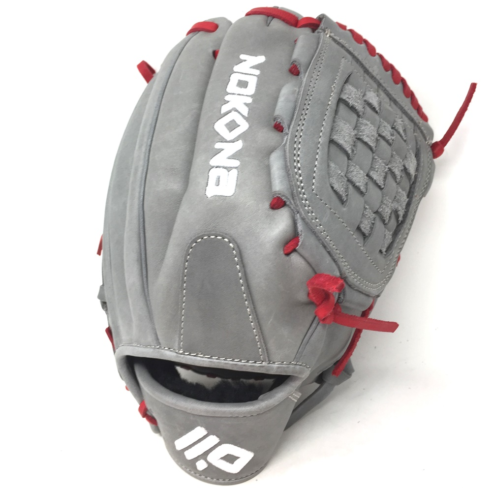 nokona-american-kip-gray-with-red-laces-12-baseball-glove-closed-trap-web-right-hand-throw A-1200C-GR-RD-RightHandThrow  Does Not Apply The American Kip series made with the finest American steer hide